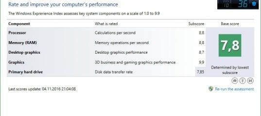 Как узнать оценку системы в Windows 10 и 8.1 (индекс производительности)